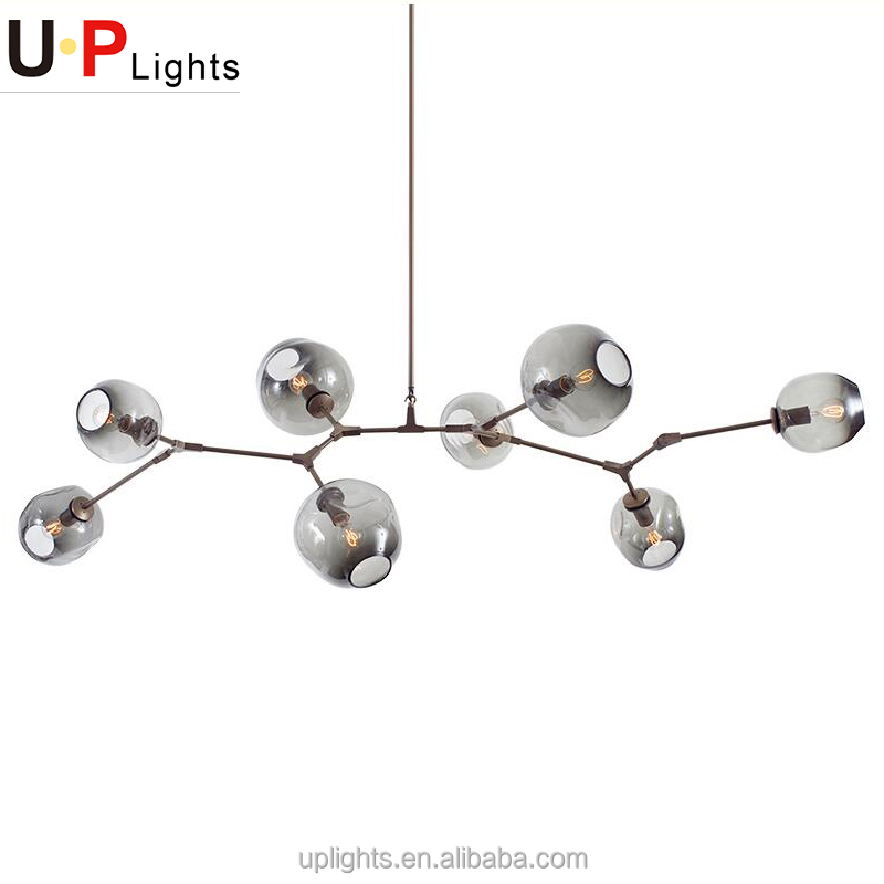 Modern black iron smoky glass european chandelier for hotel lobby