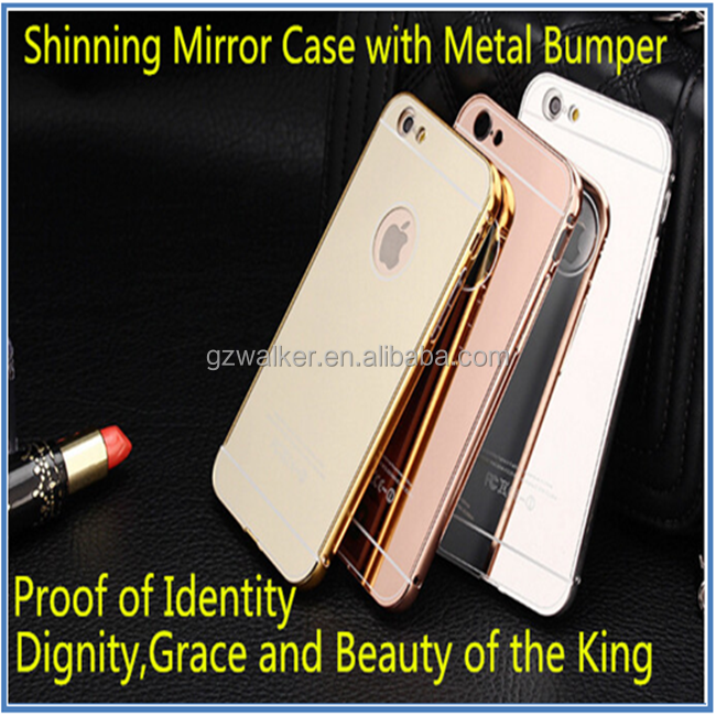 2016 New premium quality factory prices mobile phone shinning mirror cover case with metal bumper for iphone 6 6s 6 plus 6s plus