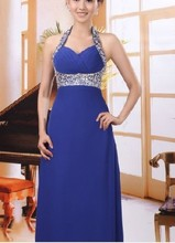 New Blue Long Formal Evening Ball Gown Party Prom Bridesmaid Dress Stock 2015