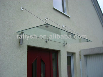Stainless steel front door glass canopy system