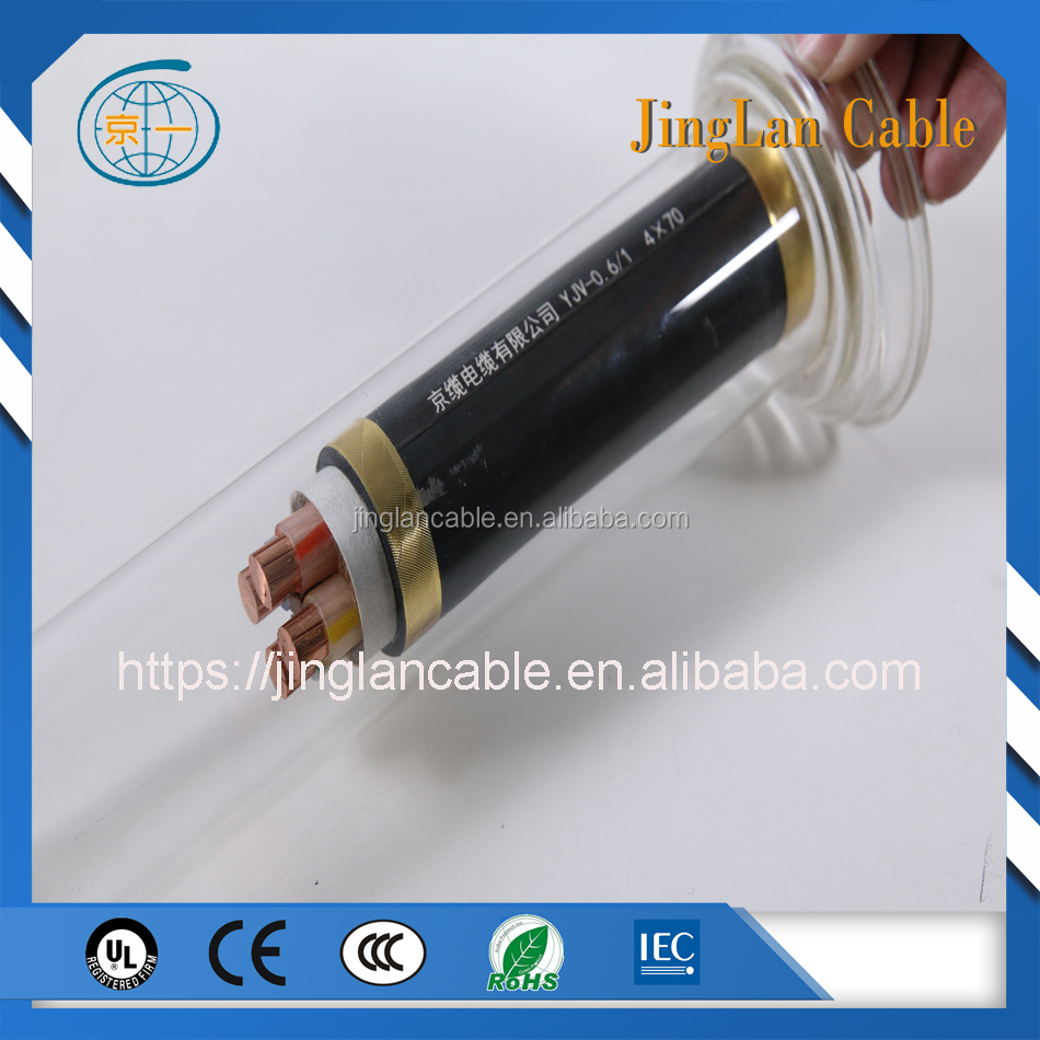 low voltage 4 X 50mm2 XLPE insulated power cable PVC sheath