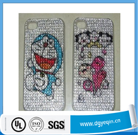 Acrylic cute cartoon bling rhinestone diamond cellphone sticker for iphone 6