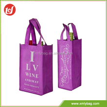 Hot sale wholesale purple packing wine non woven grocery shopping bags