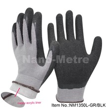 NMSAFETY 13 guage nappy acrylic & nylon liner coated latex hand glove winter work gloves