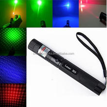 2016 fashion product laser pointer 303 focusable green laser pointer 100mw 532nm green/red/blue-violet laser color for choice