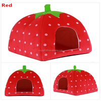 Pet Dog Cat Rabbit Bed Winter Warm Soft Plush Sponge Strawberry Pet House Kennel