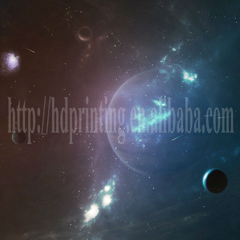 fine art canvas painting of space picture with led light