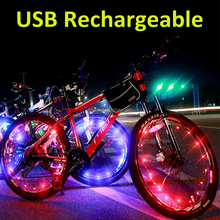 Waterproof colorful 20 led decorative bicycle bike wheel light string with usb rechargeable