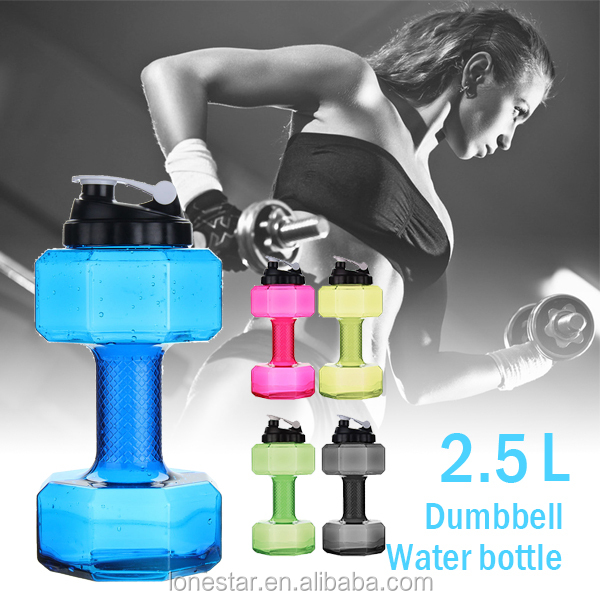 Wholesale 2.2L PETG Large capacity Plastic Water Bottle For Gym Dumbbell fitness kettle