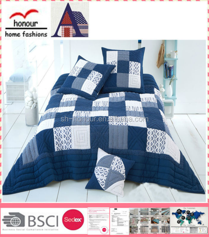 Fancy Hot sale blue simple grid patchwork pattern comfortable bedding bedspread quilt sets