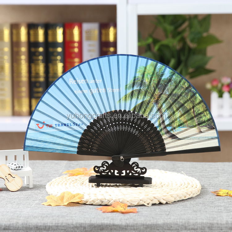 Customize Bamboo folding fan with personal Logo