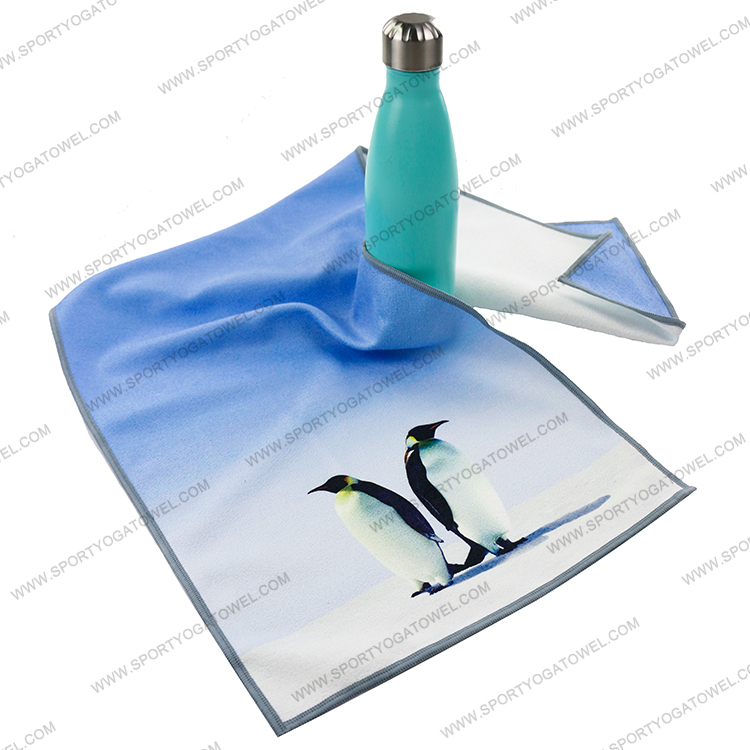 Latest personalized design absorbent slip resistant skidless premium microfiber printed yoga mat towel for swimming