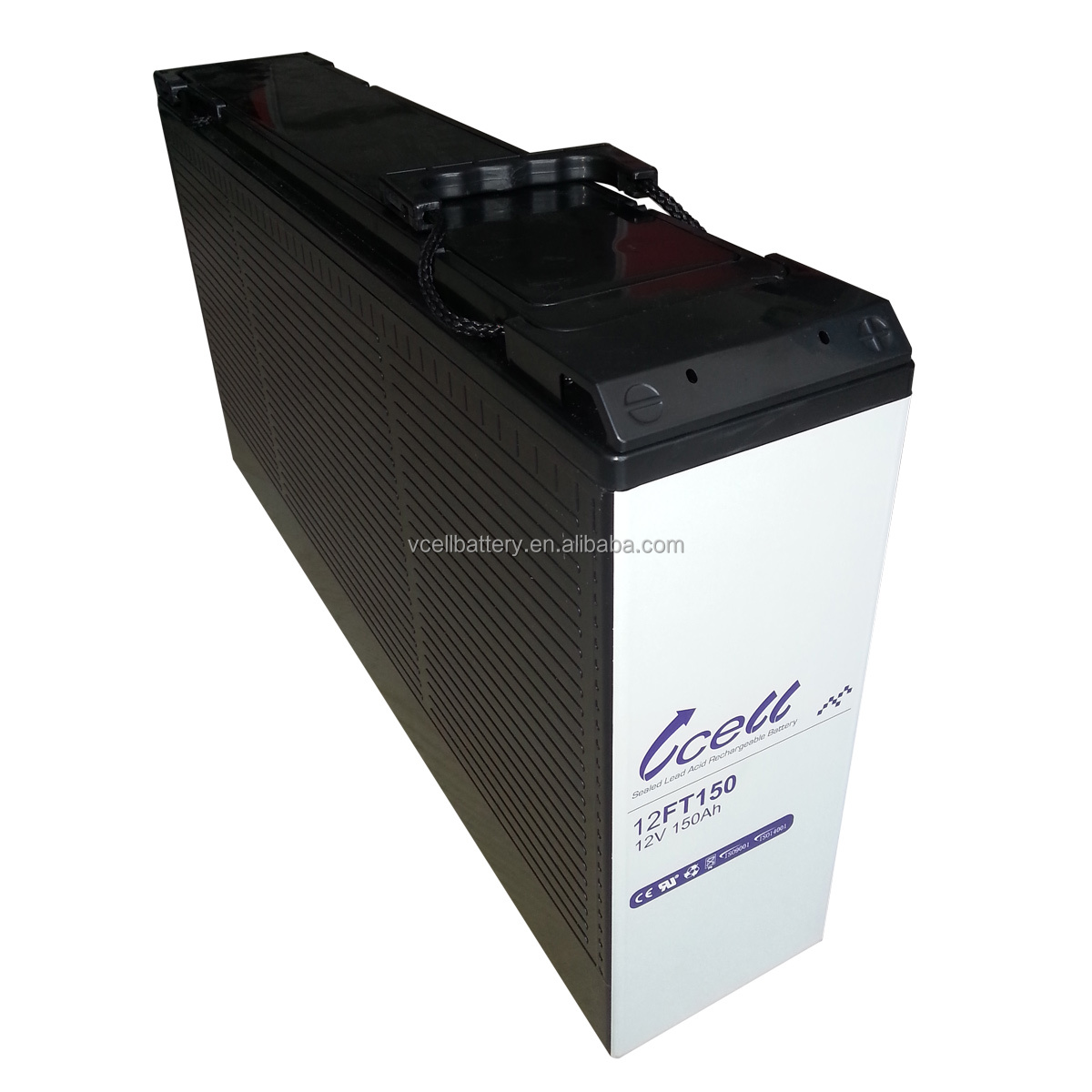 Wuhan VCELL used telecom high quality lead acid battery front terminal 12V150Ah