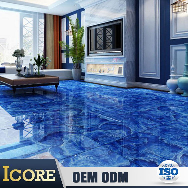 Hot Sale porcelin non-slip blue marble flower kitchen hotel lobby discontinued floor tile