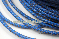 5mm Royal Blue Genuine Leather Bolo Cords Woven Braided