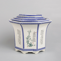 Jingdezhen decal pastel blue outdoor ceramic flower vase