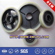 Solid pu/polyurethane covering hollow plastic wheel