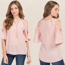 Wholesale ladies clothing crochet cold shoulder pink linen lace blouses and tops blouses