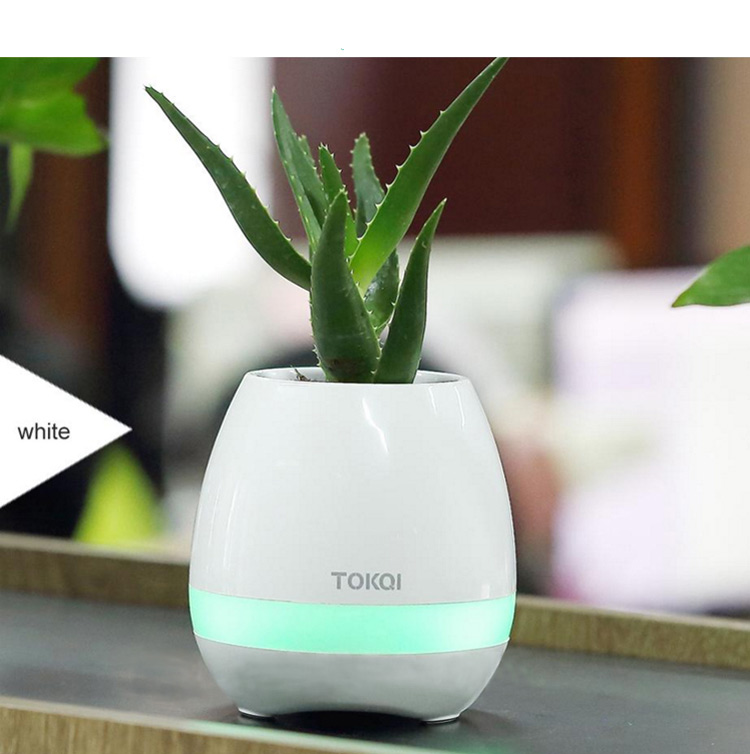 2017 Newest Birthday Gift Indoor Smart Music Flowerpots With Colorful Lamp And Bluetooth Speaker