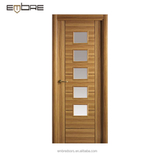 New Design Glass Insert Vented Wood Interior Door for Kitchen
