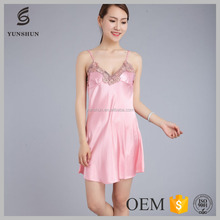 Trendy sexy summer lace dress pajamas women silk nighty sleepwear