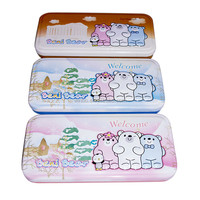 Tinplate two layers pencil case with embossed bear character