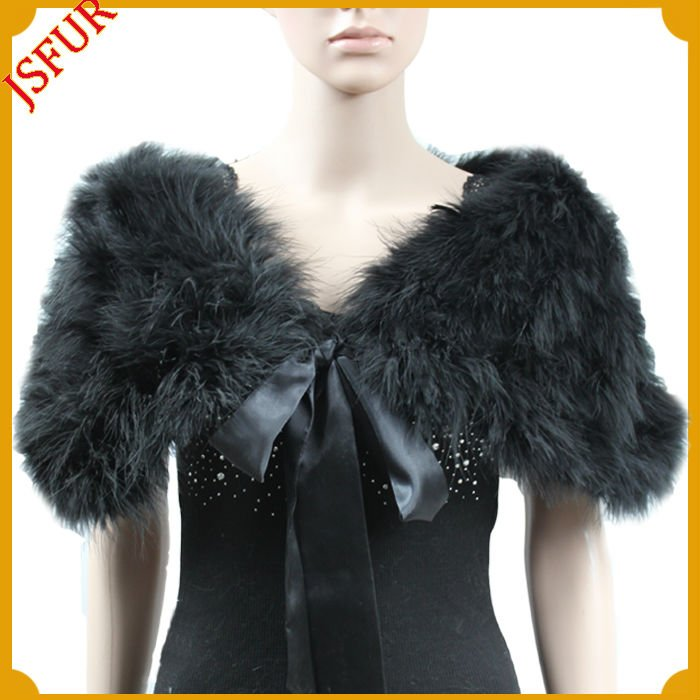 Fashion feather black evening shawls