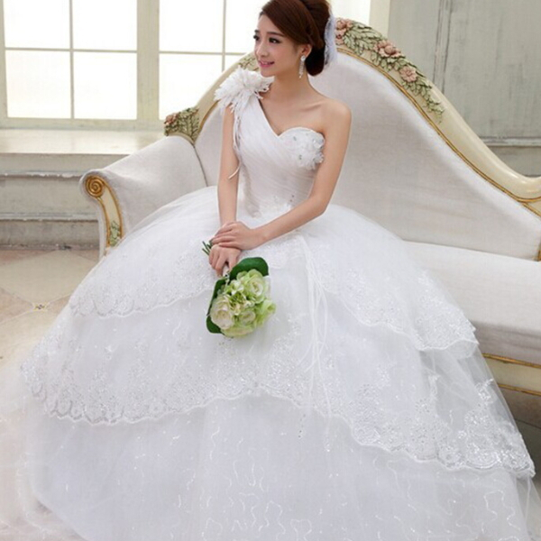 M40337B 2014 elegant high-end strapless flower lace wedding dress patterns