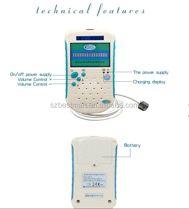 animal ultrasound veterinary vascular doppler with rechargeable battery