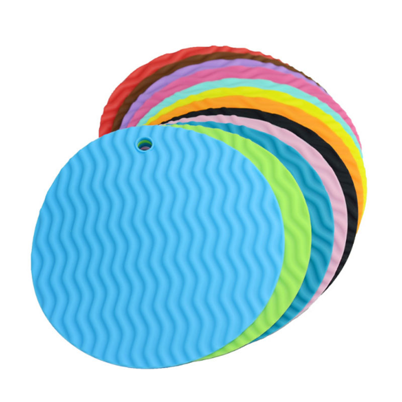 Wave design Round Pot Holder Silicone Place Mat