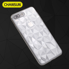 2018 hot selling ultra thin transparent 3D diamond pattern tpu case for iphone 7