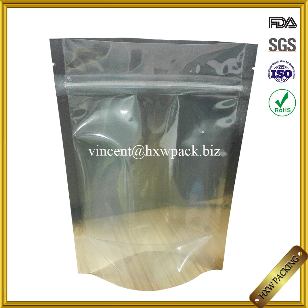 food grade polypropylene laminated transparent stand up pouch with zipper