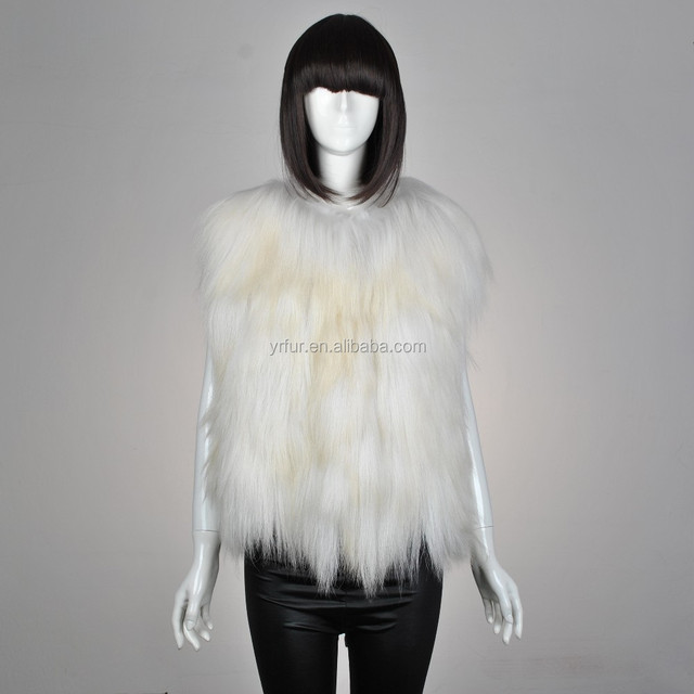 YR532 Long Hair Designer Style Women Real Goat Sheep Fur Vest