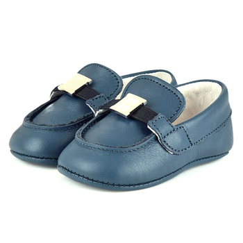 Good Quality Soft Navy Blue Pre-walker Moccasins Style Wholesale Baby Shoes