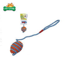 Promotion Price Inventory Stocked Soft Rubber Dog Toy with Rope