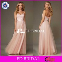 2016 Hot Sale Peach Lace Tulle Long Bridesmaid Dress