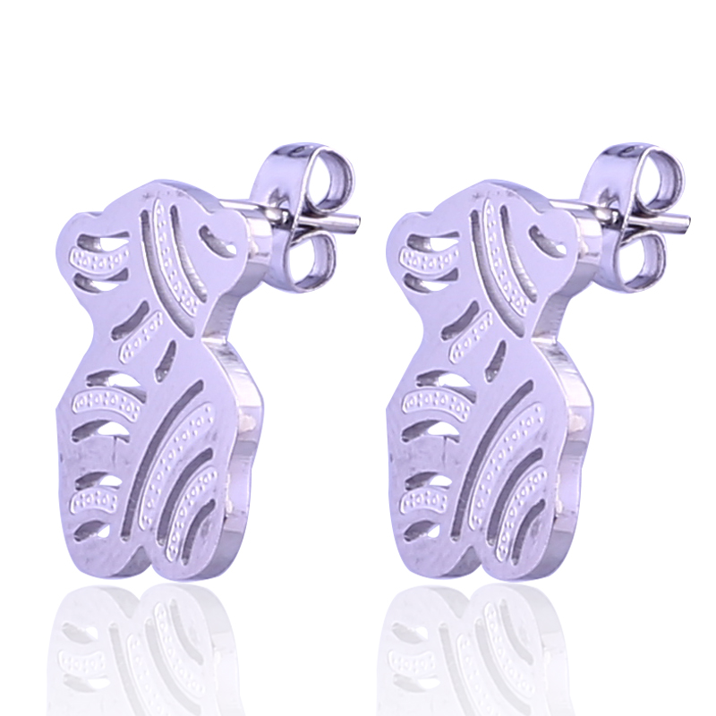 316L Stainless steel hollow bear stud earring jewelry supplies