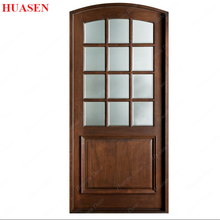 Oval Glass Inserts Wooden Entry Door Design
