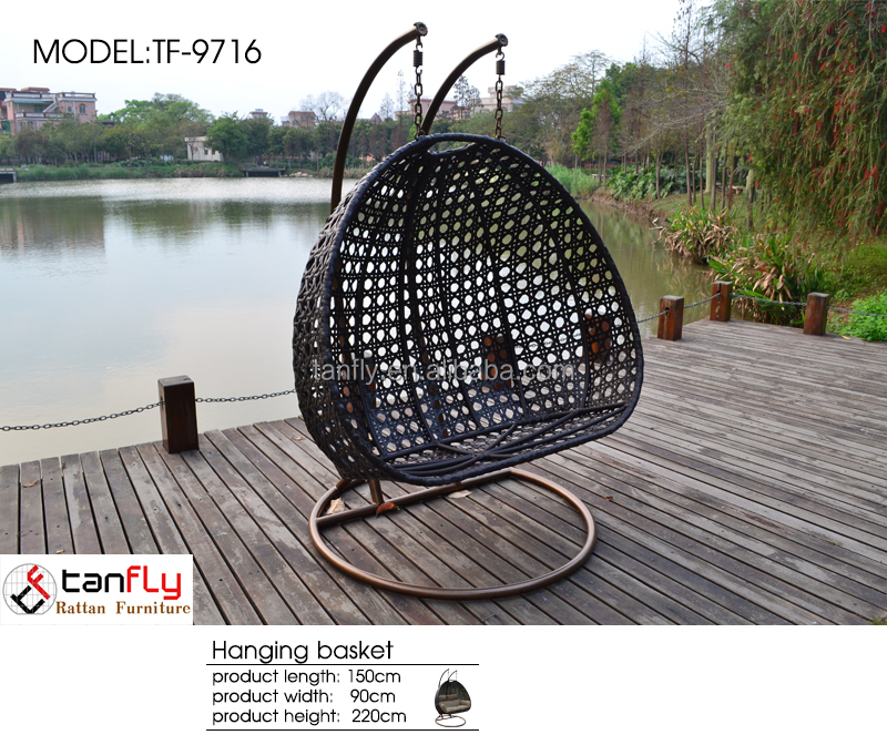 Wicker Outdoor Furniture Rattan Hanging Egg Pod Chair Special Garden Swing Chair for lovers