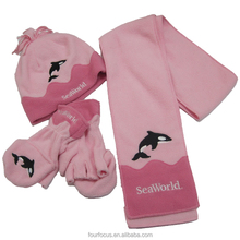 Cute Baby Custom Polar Fleece animal Hat &glove&scarf Set