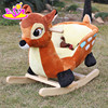 2017 new design lovely plush deer toddlers wooden rocking animals W16D074