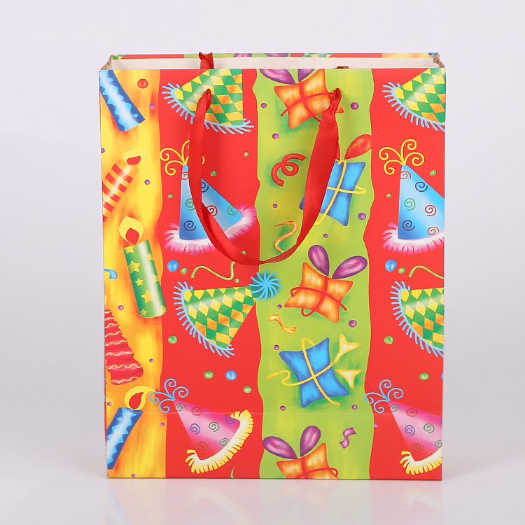 Folding packaging paper christmas gift bags with handle