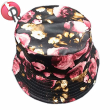 PU printed pattern waterproof fashion Women ladies folding rain hat sun hat