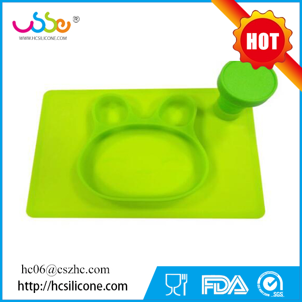 OEM Creative Bunny Silicone Baby Feeding Placemat plate in BPA-Free Dinnerware Dish Christmas gift for kids