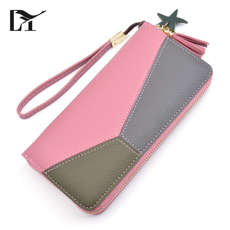 Lingyue SW1047 Long Style Modern Ladies Custom Logo Contrast <strong>Wallet</strong> For Women