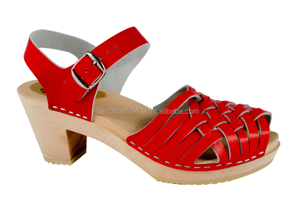 Original Swedish Clogs high-heeled sandal red