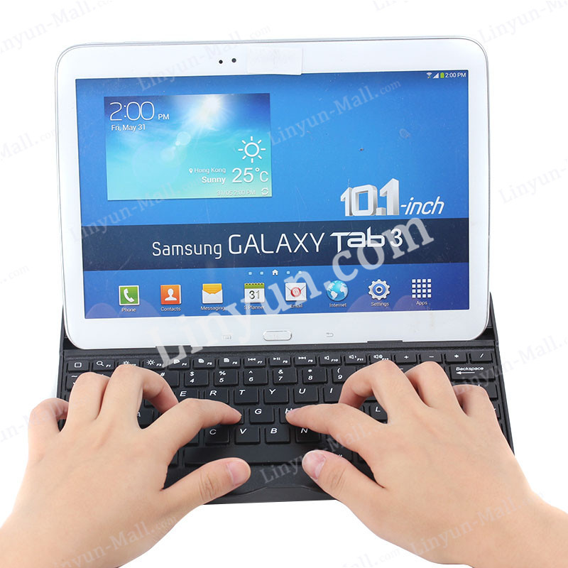Hot Factory High Quality Wireless Mini Aluminium Bluetooth Keyboard Case for Samsung Tab 3 10""