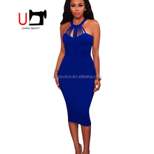 Blue Halter Bodycon Pencil Dress For Summer Women Ladies Night Out Party Wear