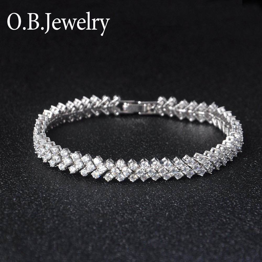 Adjustable AAA Clear Zircon Stone OEM Designs 18k Gold Bracelet