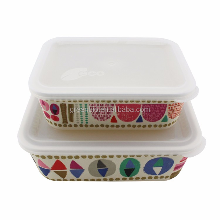 Eco friendly bamboo fiber lunch box food container storage box